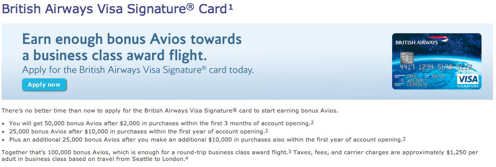 British airways visa signature card 100000 avios sign up offer is get 100k avios after spending 20000 in a year reheart Image collections