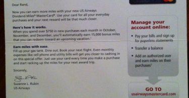 15,000 Bonus US Airways Miles Promo for Spending $750 per Month for 3 Months