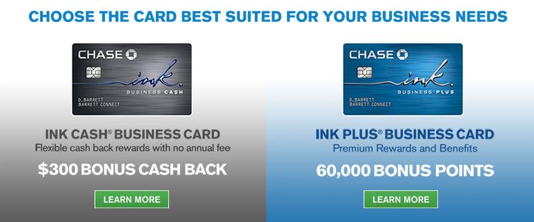 60,000 Ink Plus & 30,000 Ink Cash Sign-up Bonuses