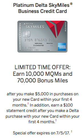 Business Amex Platinum Delta SkyMiles Card Welcome Offer