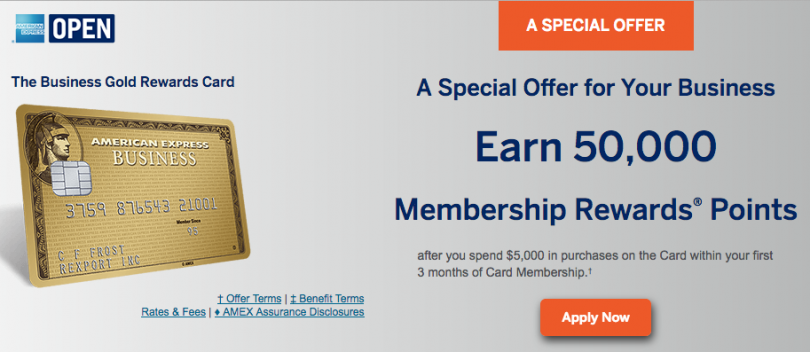 Amex business gold rewards card sign up bonus now 50000 for Amex gold business card