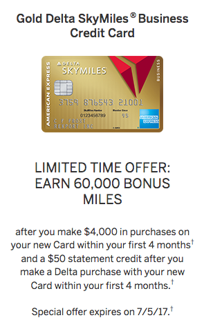 business Amex Gold Delta SkyMiles Card Welcome Offer