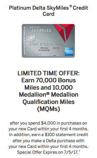 personal Amex Platinum Delta SkyMiles Card Welcome Offer