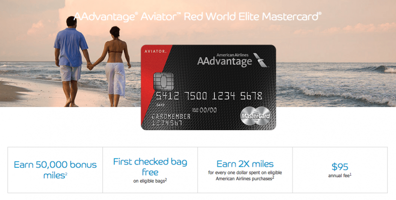 50000 Mile Signup Bonus AAdvantage Aviator Red World Elite MasterCard