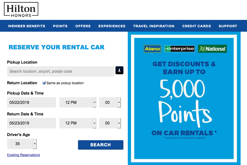 earn hilton points rental car
