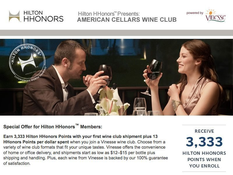 earn hilton points vinesse wines