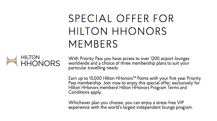 priority pass hilton honors promo to earn points