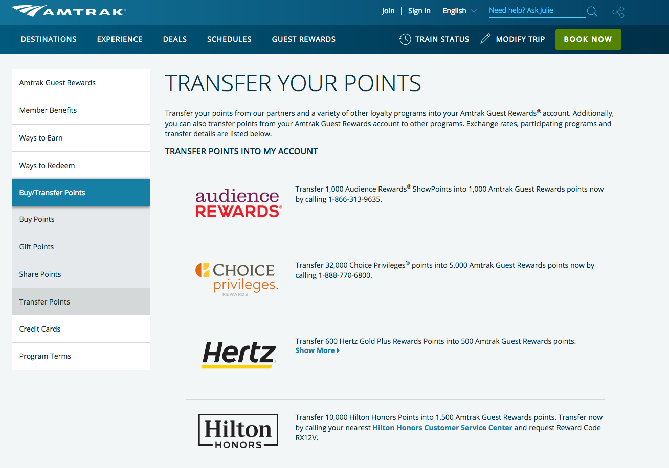 transfer amtrak points to hilton honors