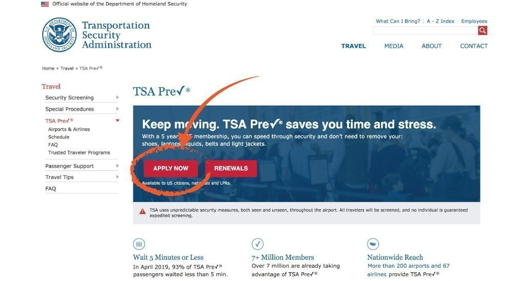 TSA PreCheck Application
