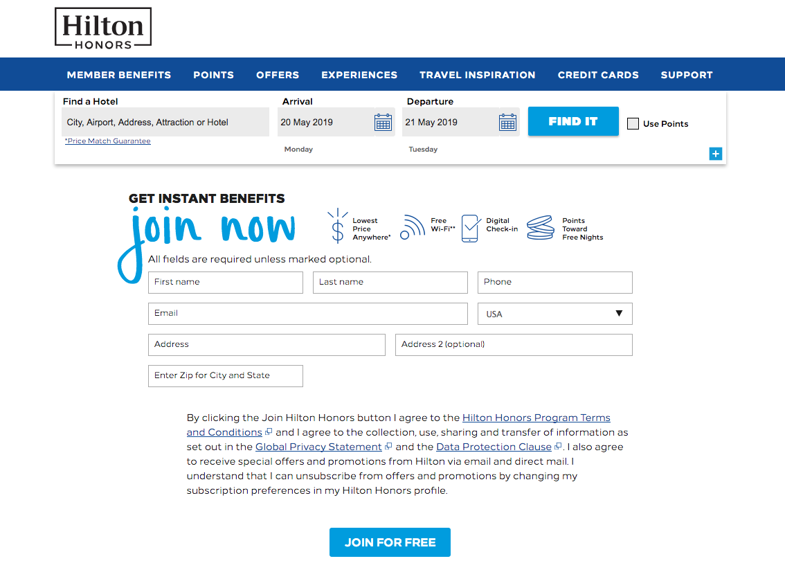 sign up to earn hilton honors points