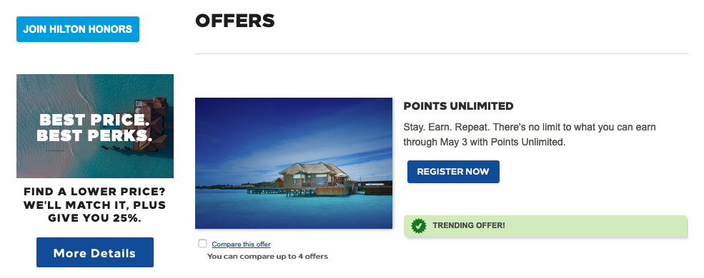 hilton honors promotions to earn more points