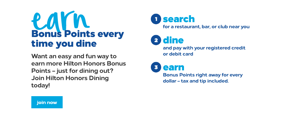 how to earn hilton honors points dining