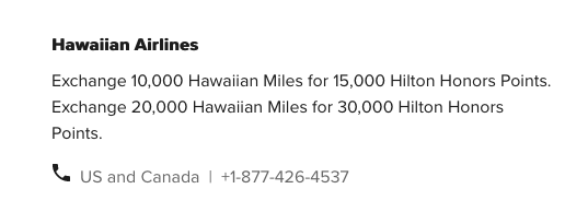 transfer hawaiian airlines miles to hilton honors points