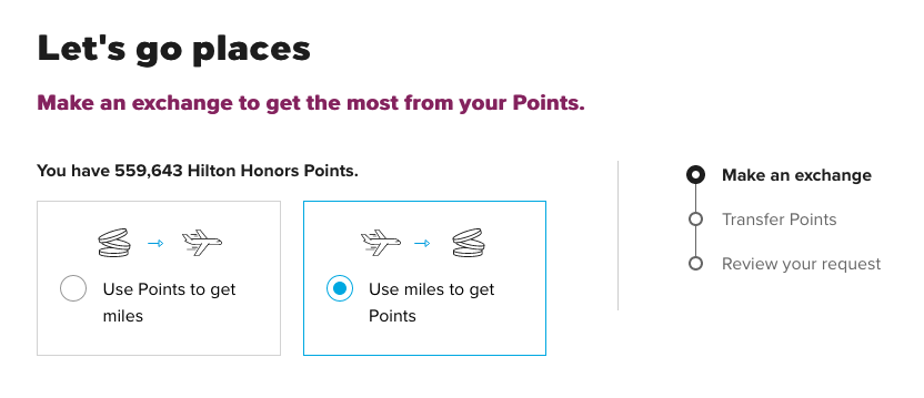 transfer points to hilton honors points