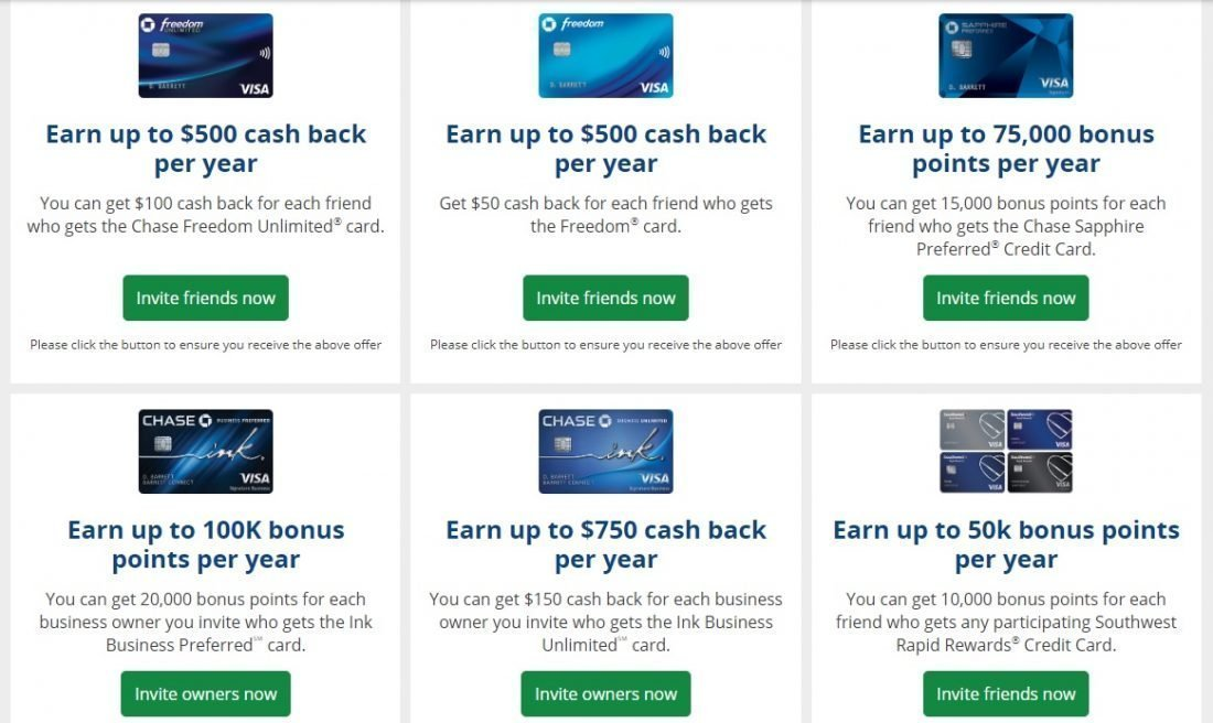 Chase Refer a Friend Credit Cards