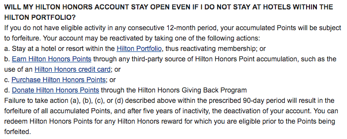 When Do Hilton Points Expire?
