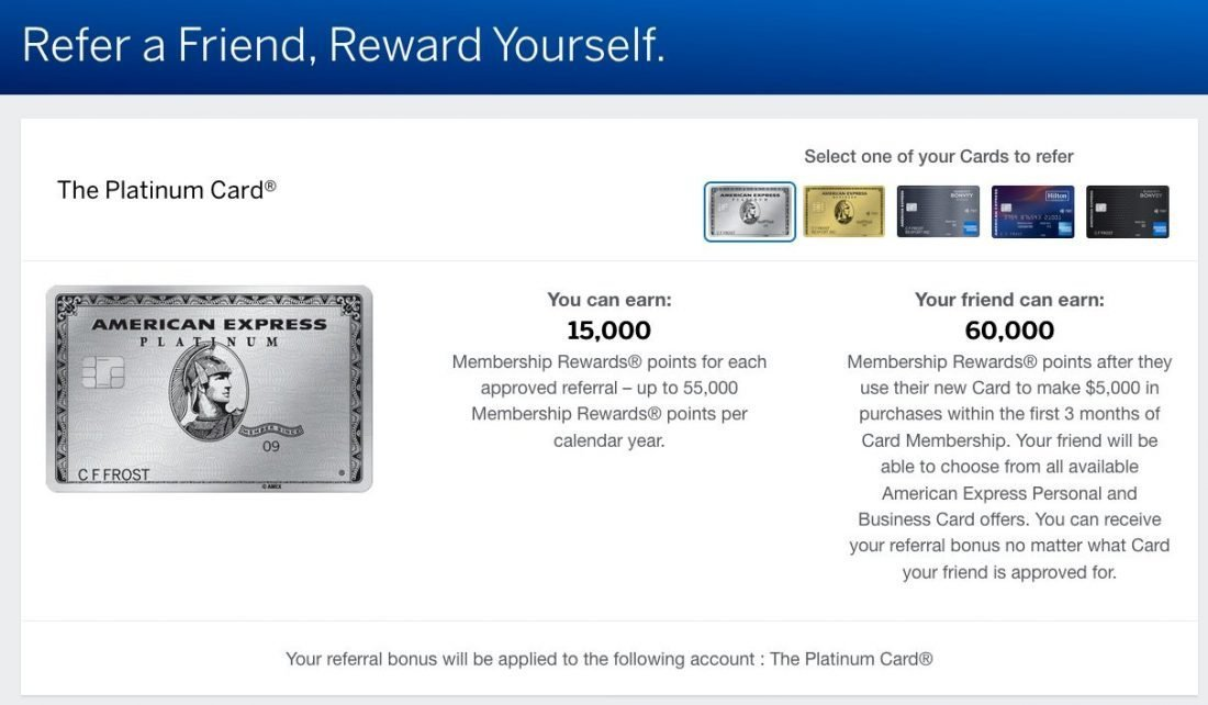 amex refer a friend for other credit cards