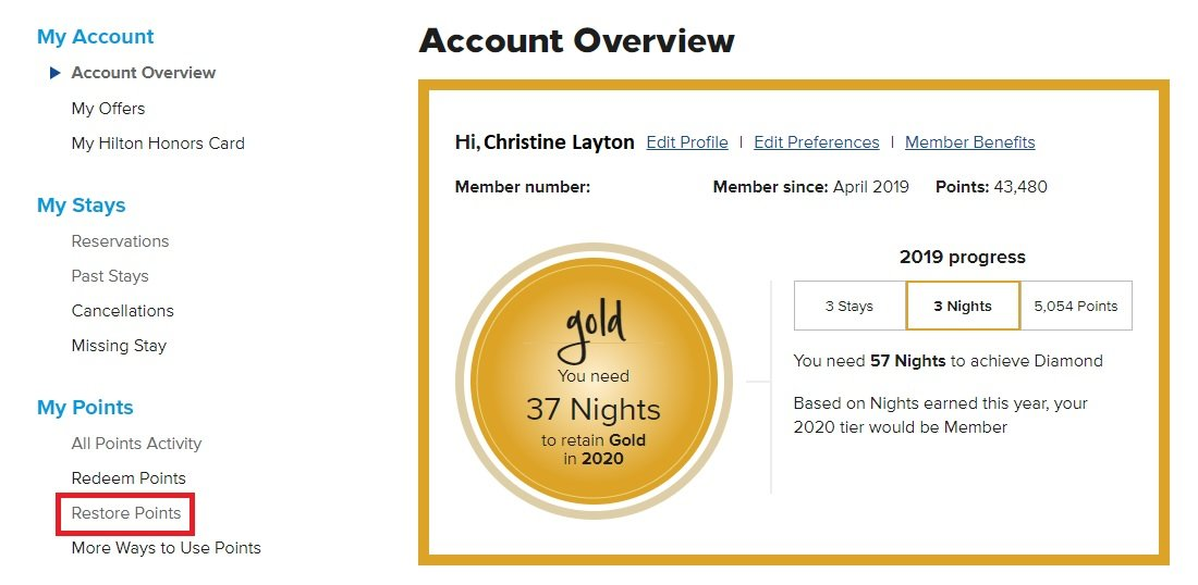 How to Restore Hilton Honors Points