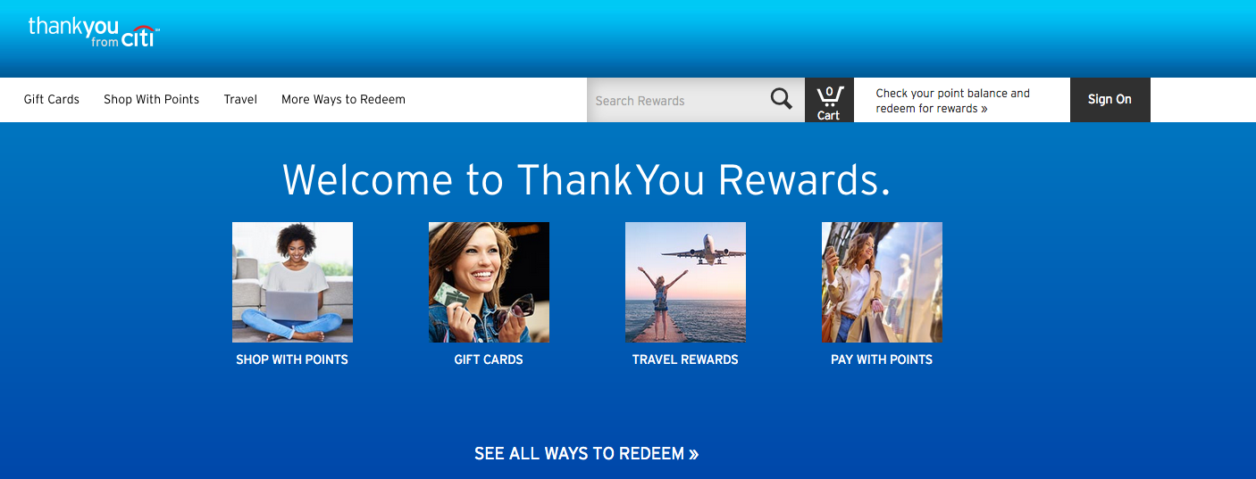 earning citi thankyou rewards points online