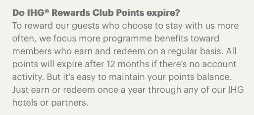 ihg rewards club points expiration policy