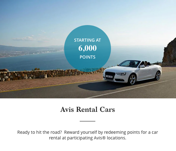 hyatt points avis rental car