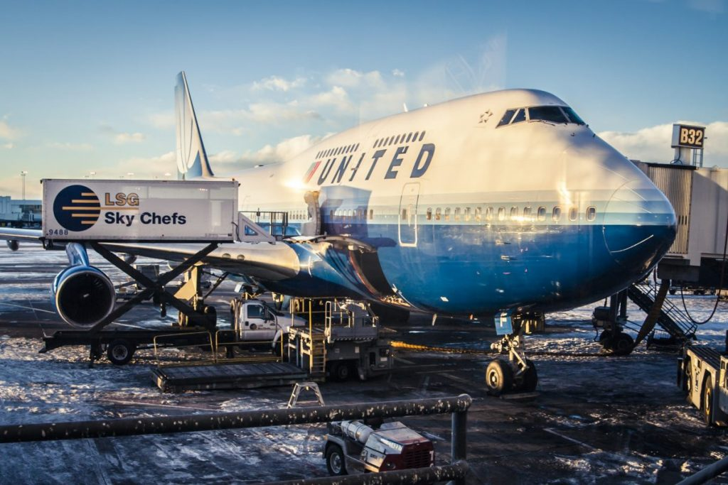 United Airlines airplane at terminal