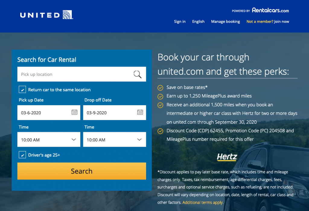 earn united miles with hertz rental cars