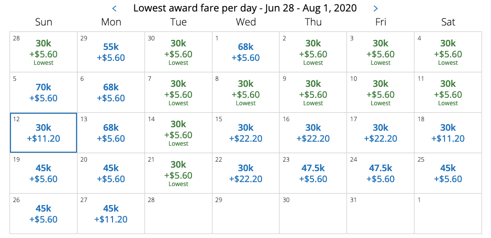 united dynamic pricing award chart
