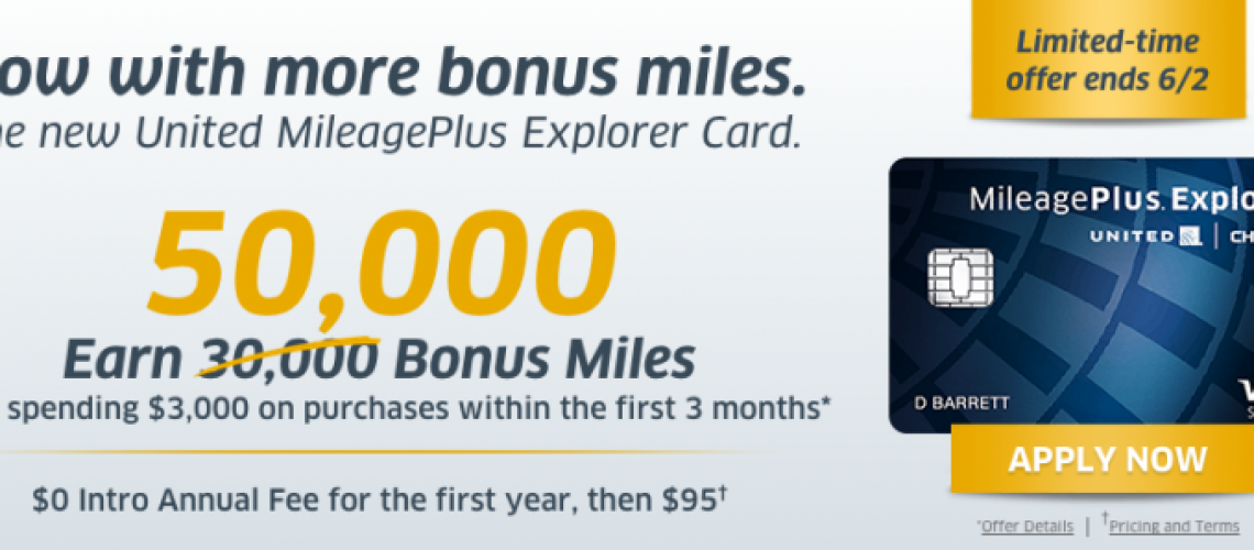Increased United Explorer Card 55,000 Mile + $50 Sign-up Bonus Offer-01